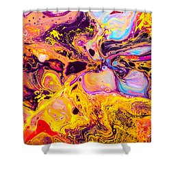 Summer Play  - Abstract Colorful Mixed Media Painting Shower Curtain