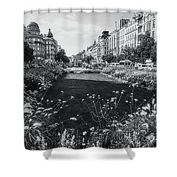 Shower Curtain featuring the photograph Summer Prague. Black And White by Jenny Rainbow