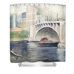 Shower Curtain featuring the painting Summer Rain by Marilyn Jacobson