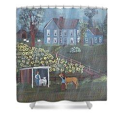 Summer Rain Shower Curtain by Virginia Coyle