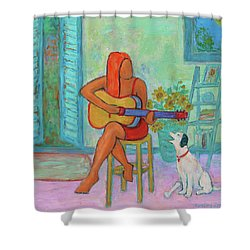 Shower Curtain featuring the painting Summer Serenade II by Xueling Zou