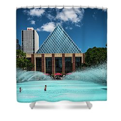 Shower Curtain featuring the photograph Summer Splash Downtown Edmonton by Darcy Michaelchuk