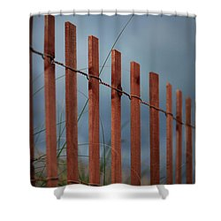 Shower Curtain featuring the photograph Summer Storm Beach Fence by Laura Fasulo