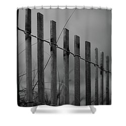 Shower Curtain featuring the photograph Summer Storm Beach Fence Mono by Laura Fasulo