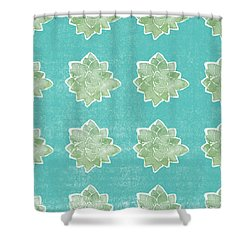 Shower Curtain featuring the mixed media Summer Succulents- Art By Linda Woods by Linda Woods