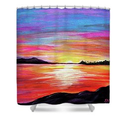 Shower Curtain featuring the painting Summer Sunrise by Sonya Nancy Capling-Bacle