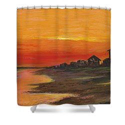 Summer Sunset At  Crystal Beach Shower Curtain
