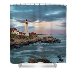 Summer Sunset At Portland Head Light Shower Curtain