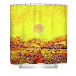 Shower Curtain featuring the digital art Summer Sunset Field - Trail In Marin California by Joel Bruce Wallach