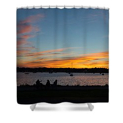 Summer Sunset With Friends Shower Curtain