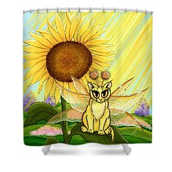 Summer Sunshine Fairy Cat Shower Curtain