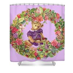 Summer Teddy Bear With Roses Shower Curtain