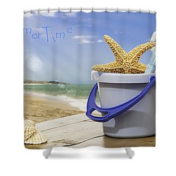 Summer Vacation Shower Curtain by Amanda Elwell