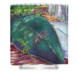 Summerime Overturned Shower Curtain by Katherine  Berlin