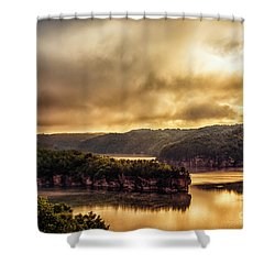 Summersville Lake At Daybreak Shower Curtain