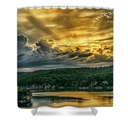 Summersville Lake Sunrise Shower Curtain