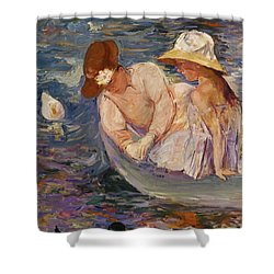 Shower Curtain featuring the painting Summertime By Mary Cassatt 1894 by Movie Poster Prints