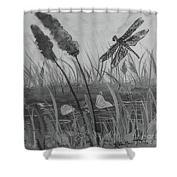 Shower Curtain featuring the painting Summertime Dragonfly Black And White by Robin Maria Pedrero
