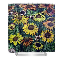 Shower Curtain featuring the painting Summertime Flowers by Ron Richard Baviello