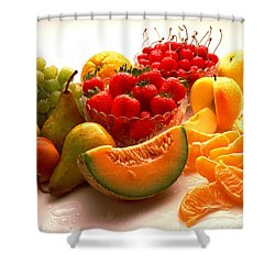 Summertime Fruit On White Shower Curtain by Thomas Firak