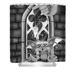 Summoned Pet - Black And White Fantasy Art Shower Curtain