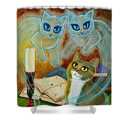 Summoning Old Friends - Ghost Cats Magic Shower Curtain