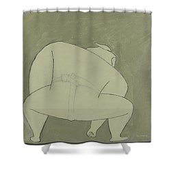 Shower Curtain featuring the painting Sumo Wrestler by Ben Gertsberg