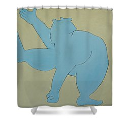 Shower Curtain featuring the painting Sumo Wrestler In Blue by Ben Gertsberg