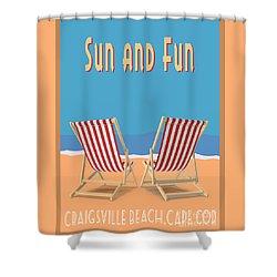 Shower Curtain featuring the digital art Sun And Fun Craigsville Beach Cape Cod by Edward Fielding