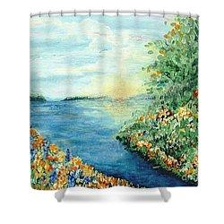 Sun And Moon Shower Curtain by Holly Carmichael