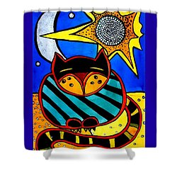 Sun And Moon - Honourable Cat - Art By Dora Hathazi Mendes Shower Curtain by Dora Hathazi Mendes