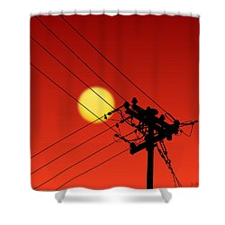 Sun And Silhouette Shower Curtain
