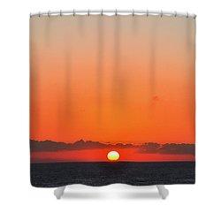 Sun Balancing On The Horizon Shower Curtain