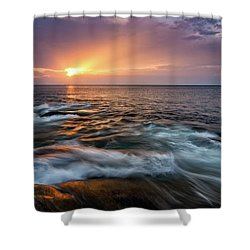 Sun Beams Halibut Pt. Rockport Ma. Shower Curtain by Michael Hubley