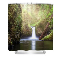 Sun Beams Over Punch Bowl Falls Shower Curtain