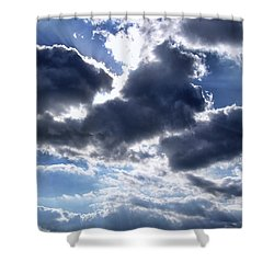 Sun Breaking Through The Clouds Shower Curtain by Mariola Bitner