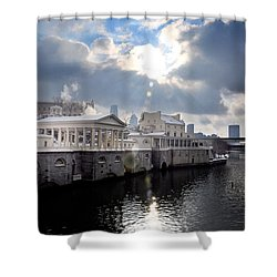 Sun Burst Over The Fairmount Water Works Shower Curtain by Bill Cannon