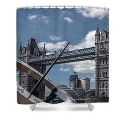 Sun Clock With Tower Bridge Shower Curtain