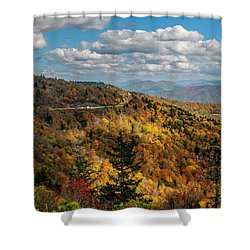 Sun Dappled Mountains Shower Curtain