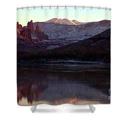 Shower Curtain featuring the photograph Sun Down At Fisher Towers by Adam Jewell