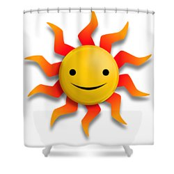 Shower Curtain featuring the digital art Sun Face No Background by John Wills