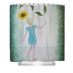 Shower Curtain featuring the painting Sun Flower Dance by Tone Aanderaa