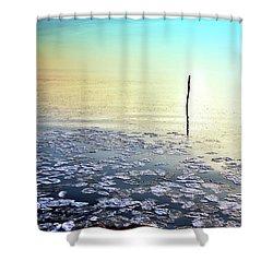 Sun Going Down In Calm Frozen Lake Shower Curtain
