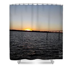 Sun Going Down Near Gov Thomas Johnson Bridge Shower Curtain