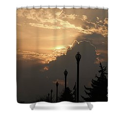 Sun In A Cloud Of Glory Shower Curtain by Andee Design