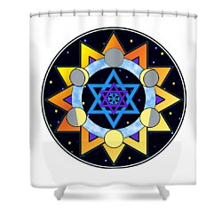 Sun, Moon, Stars Shower Curtain