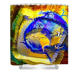 Shower Curtain featuring the painting Sun Of A Moon by Omaste Witkowski