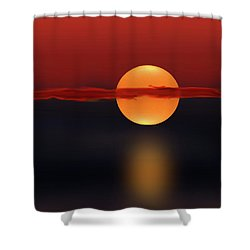 Sun On Red And Blue Shower Curtain by Deborah Smith