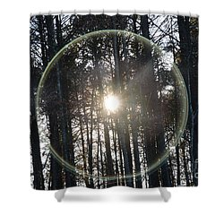Sun Or Lens Flare In Between The Woods -georgia Shower Curtain