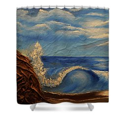 Shower Curtain featuring the mixed media Sun Over The Ocean by Angela Stout